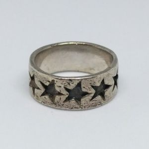 Sterling Silver Star Band Ring 925
